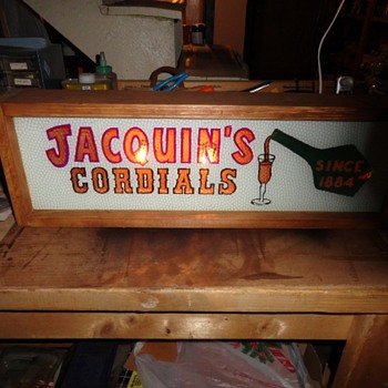 Jacquin's Caordials Reverse Painted Glass Sign. Lighted