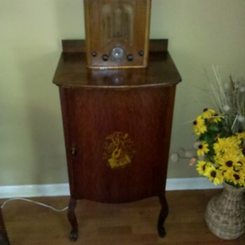 Antique sheet music cabinet & vintage radio
