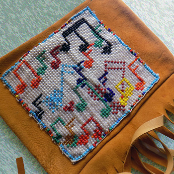 "The ""ALMOST Woodstock Beaded Leather Satchel"""