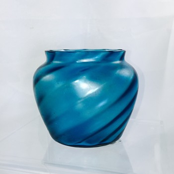 Antique Bohemian? Moser? Slow Twist Blue Iridescent Vase Bowl