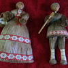 VINTAGE OLD FOLK ART EASTERN EUROPEAN DOLLS - HORSE HAIR, WOOD, AND CLOTH
