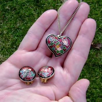 Vintage Enamel Necklace and Earrings - Cloisonne