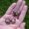 Vintage Enamel Necklace and Earrings - Cloisonne