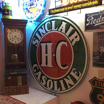 Sinclair Double Sided Porcelain Sign with mounting ring - Petroliana