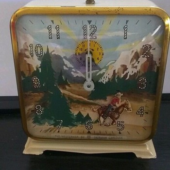 The Westerner Animated Alarm Clock...Canadian Version...Circa 1951 - Clocks