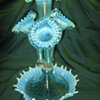 "Fenton for L.G. Wright Glass Company Blue Opalescent Epergne 17"" tall"