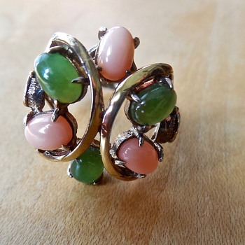 Gold Vermeil over Sterling Silver Jadeite and Coral Ring
