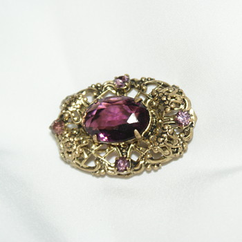 Small Vintage Purple Glass Brooch - Costume Jewelry