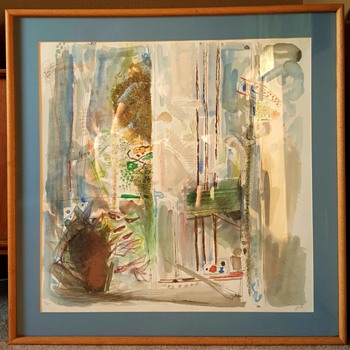 """Flowers by the Window"" Lithograph Print by Yehezkel Streichman - Mid-Century Modern"