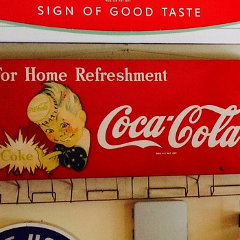 Coca cola bag holder sign  sprite boy 40's and 50's  - Coca-Cola