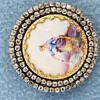 porcelain hand painted brooch/pendant with 2 rows of old miner diamonds