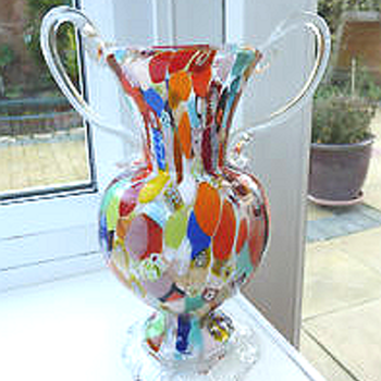 Vintage Millefiore double handled vase  - Art Glass