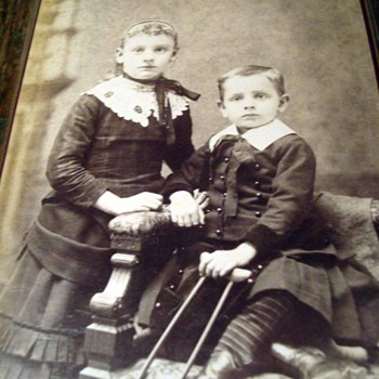 Antique Cabinet Card of Crippled Boy - Photographs