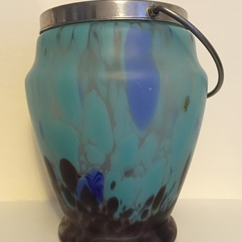 Amethyst and turquoise satin glass cookie jar (biscuit barrel)