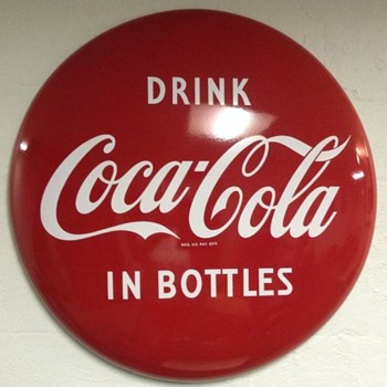 "1950s Drink Coca Cola in Bottles 36"" Porcelain Button - Coca-Cola"