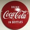 "1950s Drink Coca Cola in Bottles 36"" Porcelain Button"