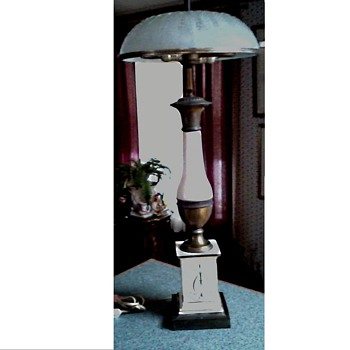 Unusual Painted Enamel and Brass Table Lamp / Wheat Pattern Frosted Glass Shade/Unknown Maker Circa 20th Century - Lamps