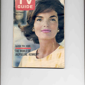 1962 T.V. Guide with Jacqueline Kennedy on the cover - Advertising