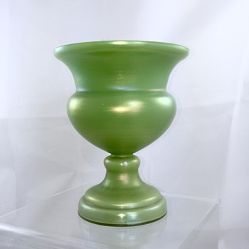 Nouveau Bohemian Lime Green Iridized Urn Footed Vase  - Art Glass