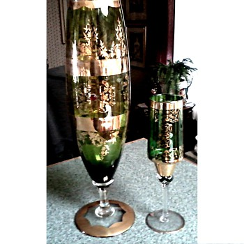 Elegant Green & Gilt Glass Vases / Unknown Maker and Age
