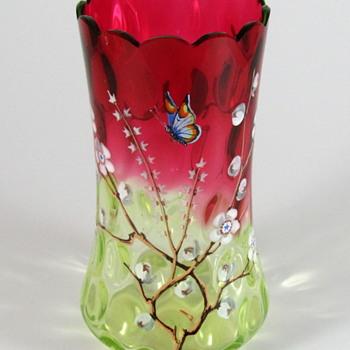 Phoenix Glass Rubina Verde Inverted Thumbprint Enameled Celery Vase - Art Glass