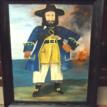 Black Beard Naive/Folk Art Painting - Folk Art
