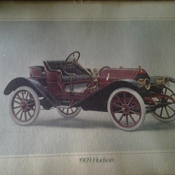 Hudson 1909 car print by alan wilson