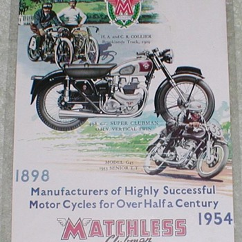 1954 Matchless Motorcycle Advertisement - Advertising
