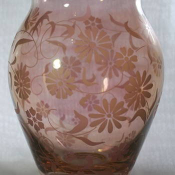 Acid Etched Vase and Bowl - Art Glass