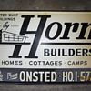 Antique Old Horn Builders Advertisement Steel Metal Sign Homes Cottages Camps Onsted Mich. HO.1-5727