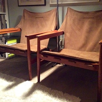 Hans Olsen Leather Sling/Safari Chairs