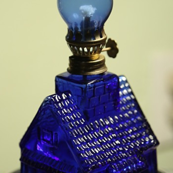 Cobalt Glass Mini-Lantern/House Thingie - Lamps