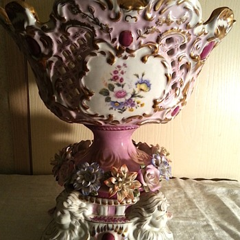 My favorite piece of my antique collection is this beautiful compote - Art Pottery