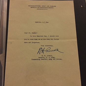 WW2 Condolence Letter  Signed by General H.H. Arnold On Memorial Day - Military and Wartime