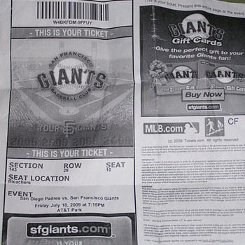 Jonathan Sanchez No-Hitter Ticket Stub