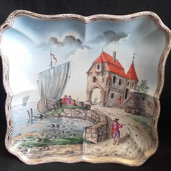 Helena Wolfsohn Scenic Harbour Boat Scene on Meissen Square Scalloped Bowl