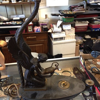Bronze Aladdin Figural Lamp w/ two hallmarks.. Help please