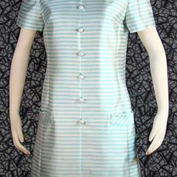Silk 60&#039;s &quot;Jackie&quot; Style Aqua Striped Dress - Womens Clothing