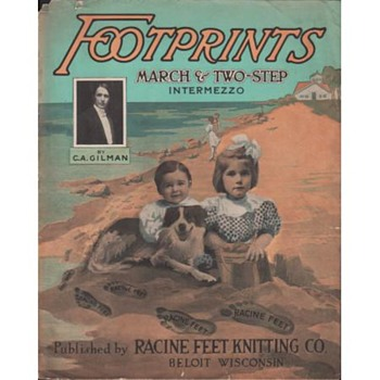 "ADVERTISING SHEET MUSIC,FOR STOCKINGS ""FOOTPRINTS"" 1909, RACINE FEET"