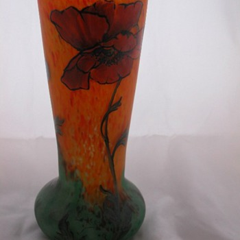 Legras fire poppy vase