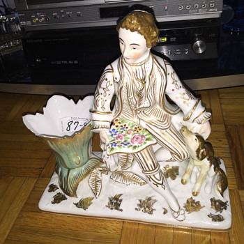 Volkstedt Minton Darby Dresden ? Please help identify maker mark old porcelain man with dog hard paste
