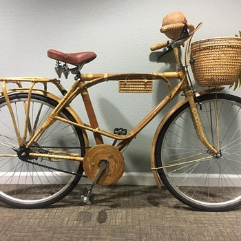 Bambooclette Bamboo and Rattan Wrapped Bicycle Cruiser 1960s