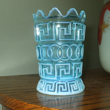 "Nickel Plate Glass Co. ""DOUBLE GREEK KEY"" Blue Opalescent Spooner"