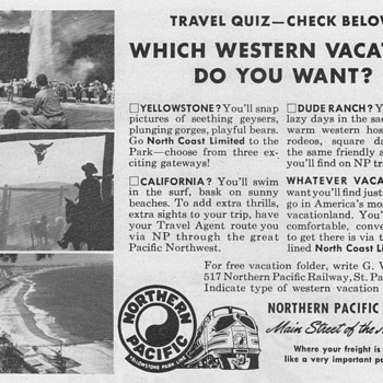 1951 - Northern Pacific Railway Advertisement - Advertising