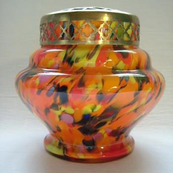 Czech Art Deco Spatter Glass Rose Bowl