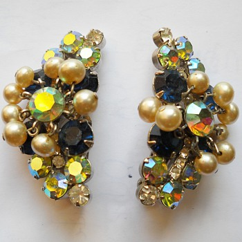 Aurora Borealis Faux Pearl Chandelier Clip Earrings - Costume Jewelry