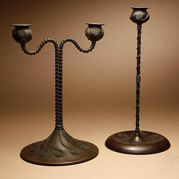 Riviere Studios Bronze Candlestick &amp; Candelabrum - Arts and Crafts
