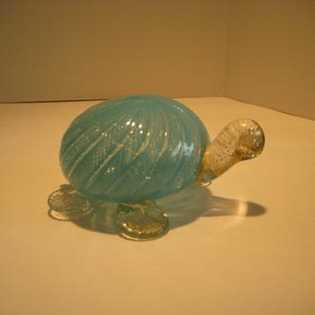Latticino turtle - Art Glass