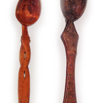 Hand carved wood utensils - Asian