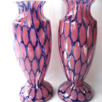 Fabulous Pair Rückl Pink White Spatter & Blue Powder Honeycomb Decor Glass Vases 10in - Art Glass